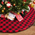Thick Christmas Tree Skirt 48 inch Large, Red and Black Plaid Buffalo