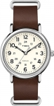 Timex Weekender White Dial and Brown Leather Nato Strap