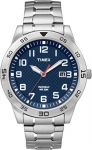 Timex Men's Casual Blue Watch with Silver Expansion Band