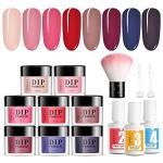 TOMICCA Dip Powder Nail Kit 8 Color with Liquid Set, Nude/Red/Dark Series