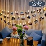 Tomshine 40 LEDs Photo Clip String Lights