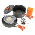 TOMSHOO Outdoor Camping Hiking Cookware with Mini Camping Piezoelectric Ignition Stove