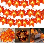 Toodour Thanksgiving Decorations Lights, Fall Maple Leaves String Lights, 20ft 40 LED