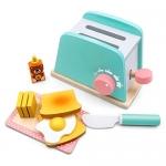 Tiny Land Toy Kitchen Wooden Pop-Up Toaster Play Set 10 Pcs