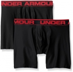"Under Armour Men's Original Series 6"" Boxerjock, Black/Black, Large, Pack of 2"