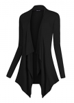 Urban CoCo Women's Vogue Long Sleeve Irregular Hem Open Front Cardigan