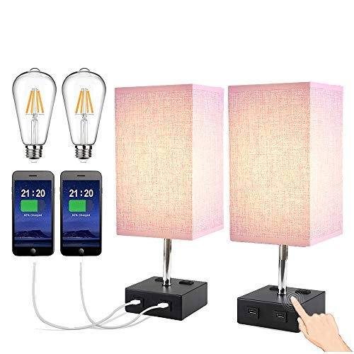 Ltteny Nightstand Lamp 3-Way Touch Control Dimmable with 2 USB Charging Ports 2 AC Outlets (Pink, 2pcs)