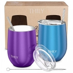 THILY Triple-Insulated Stainless Steel Travel Glasses, 2 Pack