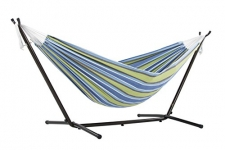 Vivere Double Oasis Hammock Combo with 9′ Stand and Carry Bag