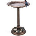 VIVOSUN 2-in-1 Outdoor Garden Bird Bath with Flower Planter Base