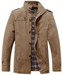 Wantdo Men's Stand Collar Cotton Classic Jacket