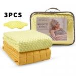 "Weighted Blanket Sleep Set(60""x80"" 15Lbs), Yellow, Dot Minky"