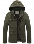 WenVen Men's Hooded Cotton Military Jacket, Military Green