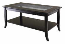 Winsome Wood Genoa Rectanuglar Coffee Table with Glass Top and Shelf
