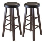 Winsome Wood Marta Assembled Round Bar Stool with Cushion Seat