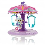 WowWee Fingerlings Playset: Twirl-A-Whirl Carousel with 1 Fingerlings Baby Monkey – Abigail (Light Blue with pink Glitter)