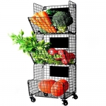 X-cosrack 3 Tier Metal Wire Basket Organizer with Wheels