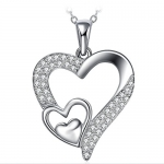 ZHULERY 925 Sterling Silver Cubic Zirconia Three Heart Pendant Necklace