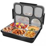 ZIONOR Bento Lunch Box (5 Compartment, Black)
